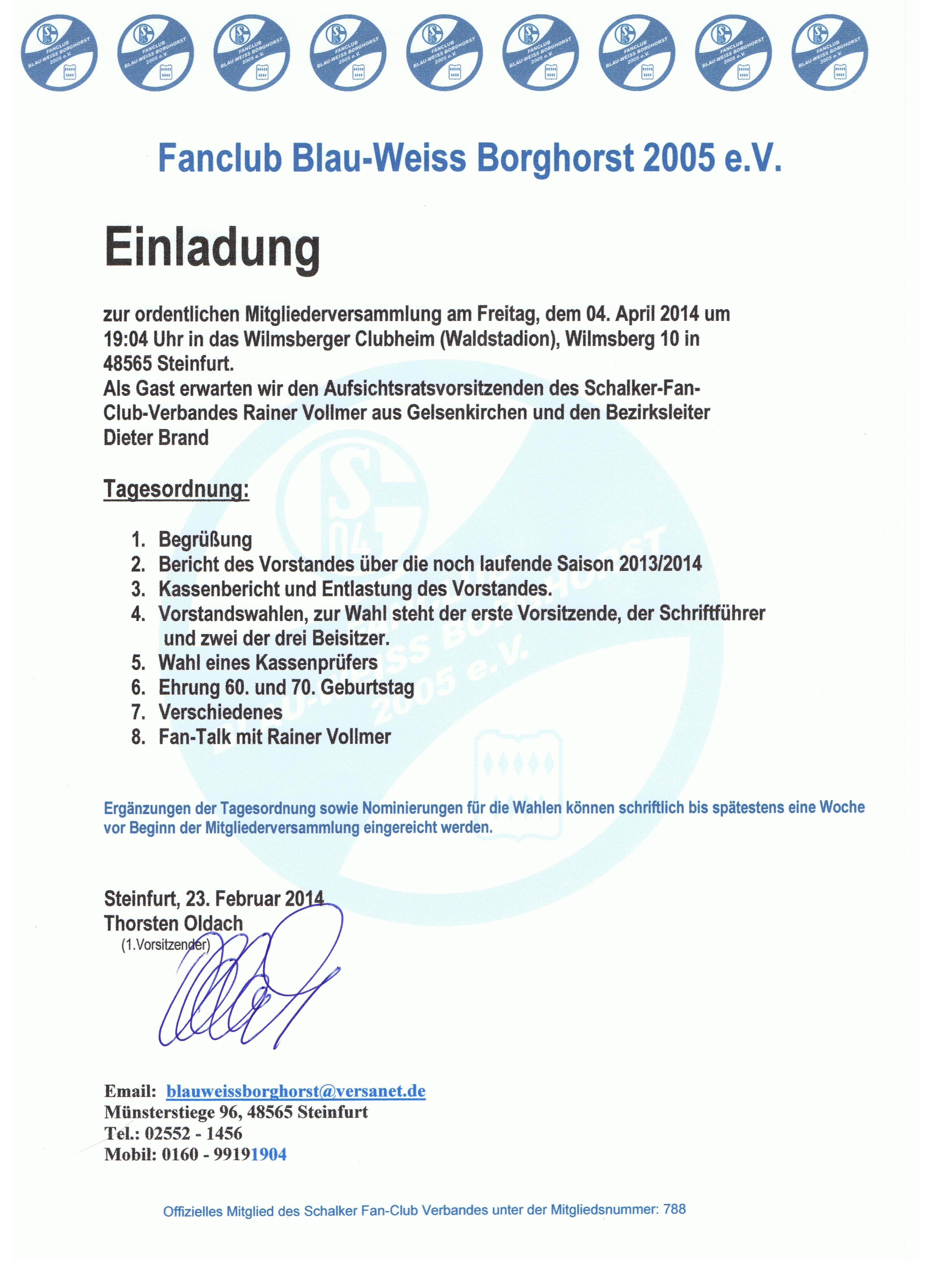 blau-weiss borghorst » einladung mitgliederversammlung…!!!, Einladung